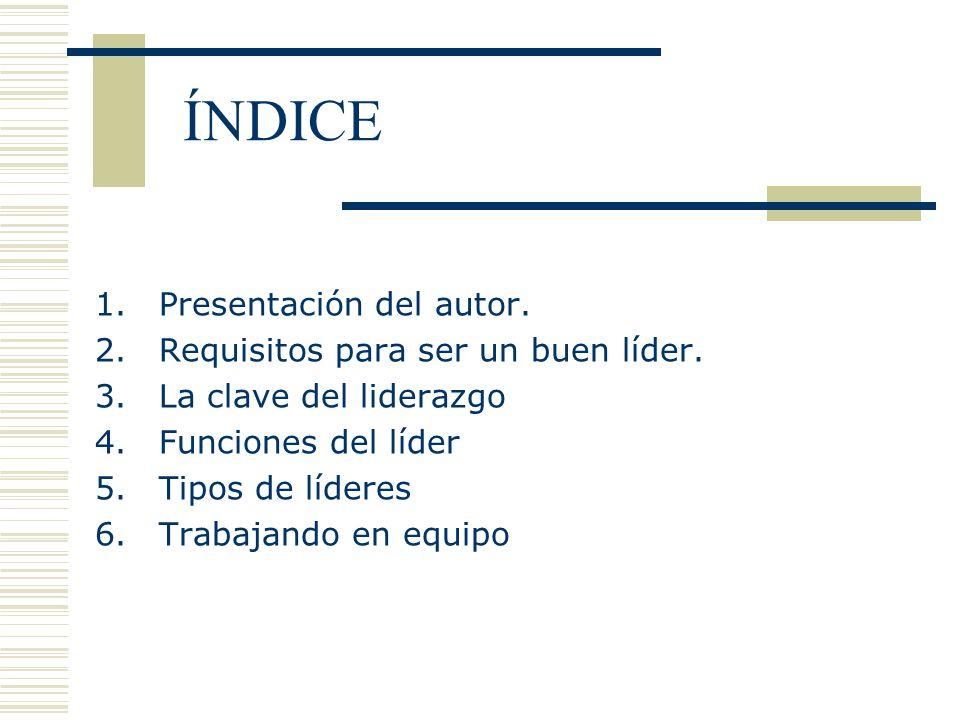 ÍNDICE Presentación del autor. Requisitos para ser un buen líder.