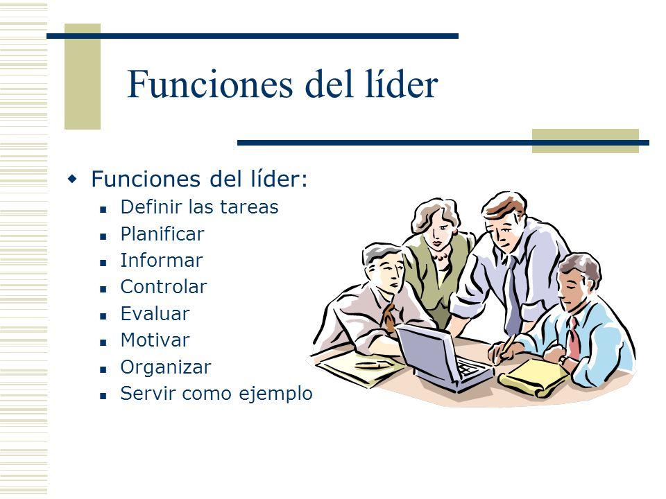 Funciones del líder Funciones del líder: Definir las tareas Planificar