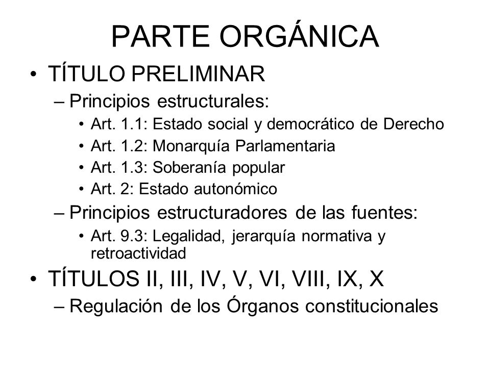PARTE ORGÁNICA TÍTULO PRELIMINAR