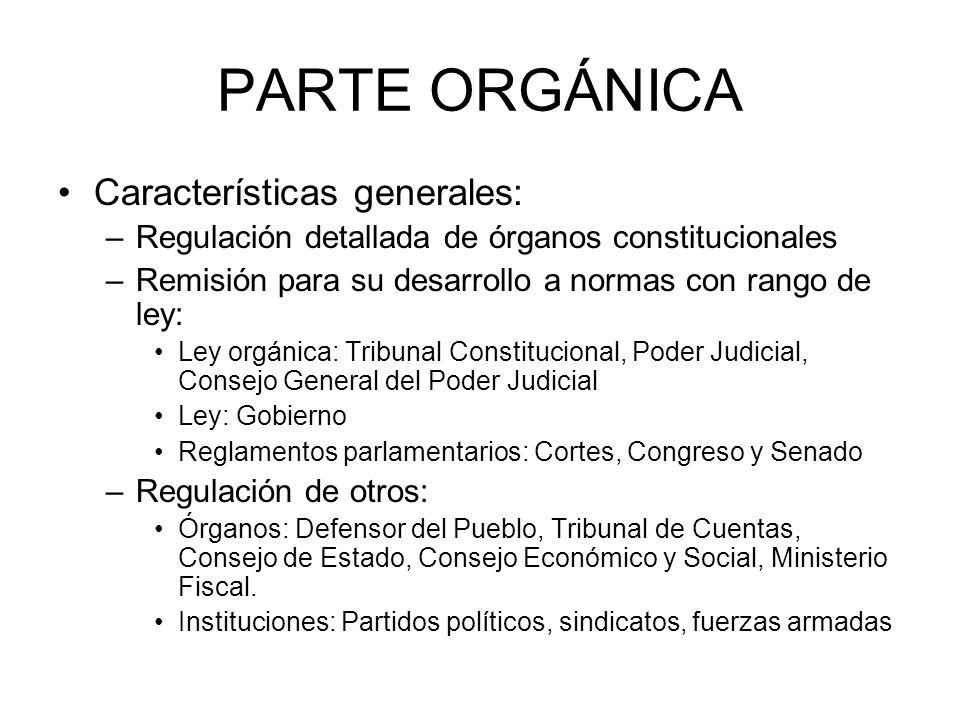 PARTE ORGÁNICA Características generales: