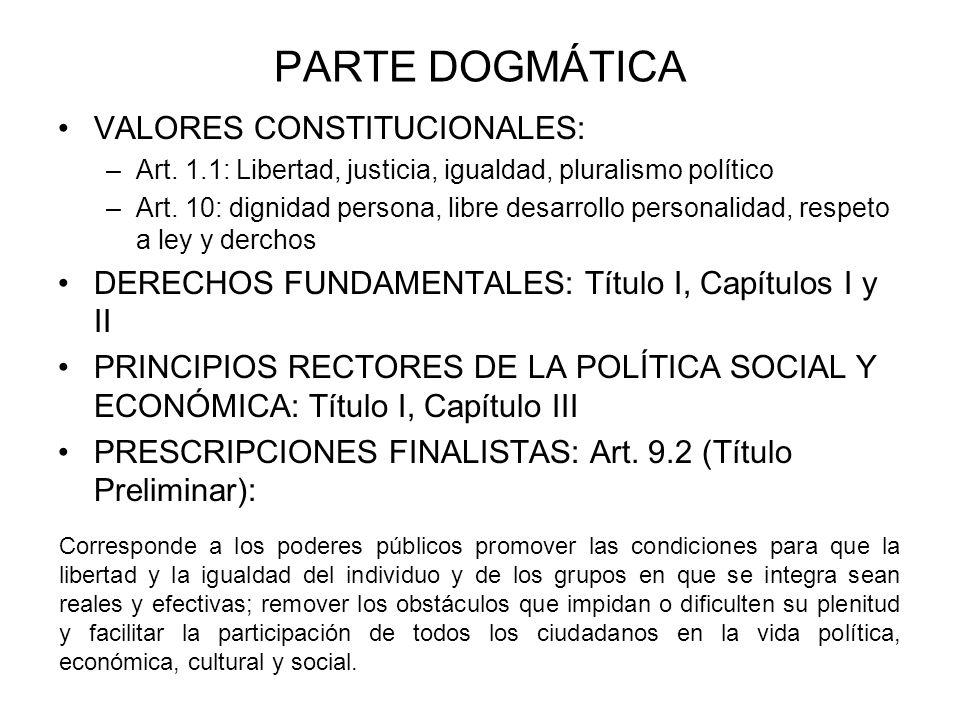 PARTE DOGMÁTICA VALORES CONSTITUCIONALES:
