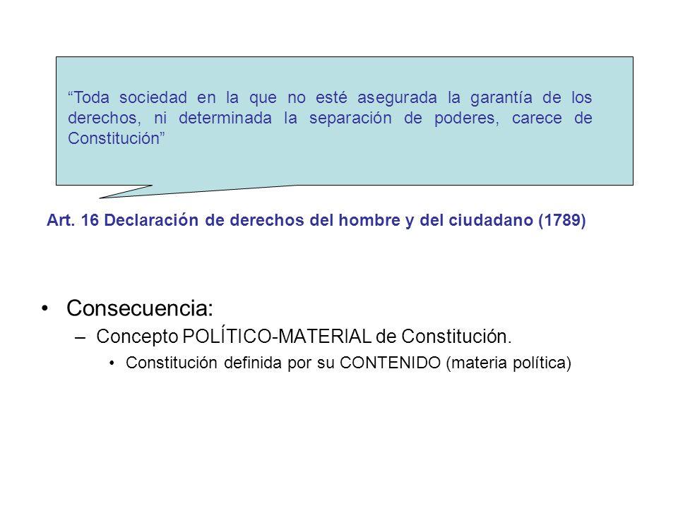 Consecuencia: Concepto POLÍTICO-MATERIAL de Constitución.