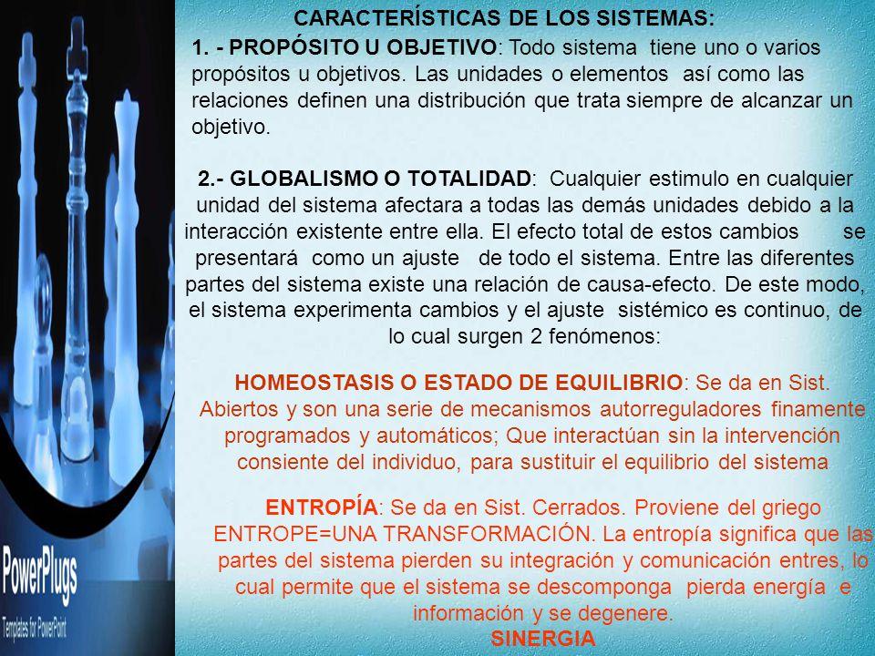 CARACTERÍSTICAS DE LOS SISTEMAS: