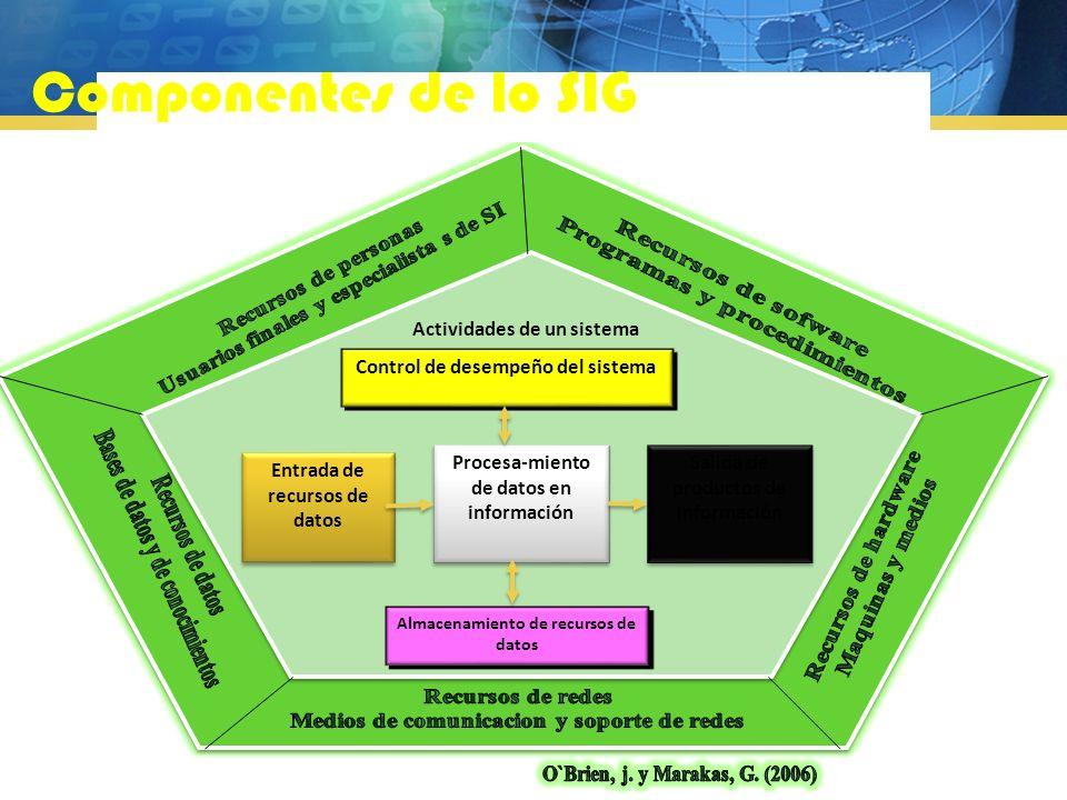 Componentes de lo SIG Control de desempeño del sistema