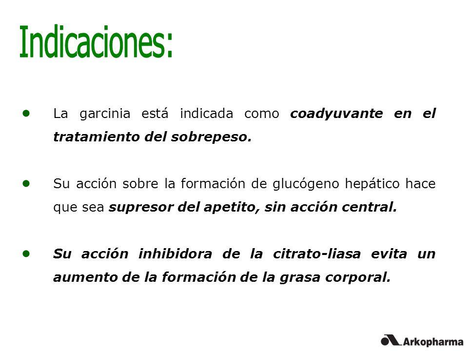 Indicaciones: La garcinia está indicada como coadyuvante en el tratamiento del sobrepeso.