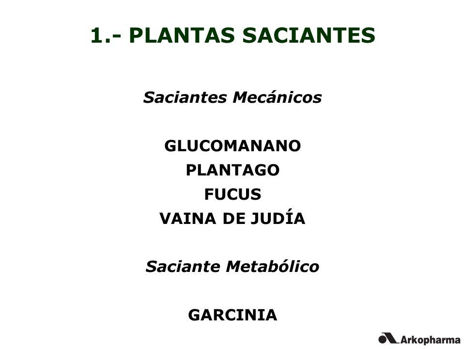 1.- PLANTAS SACIANTES Saciantes Mecánicos GLUCOMANANO PLANTAGO FUCUS