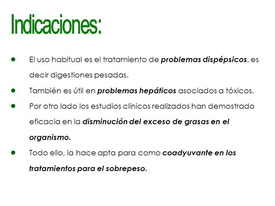 Indicaciones: El uso habitual es el tratamiento de problemas dispépsicos, es decir digestiones pesadas.