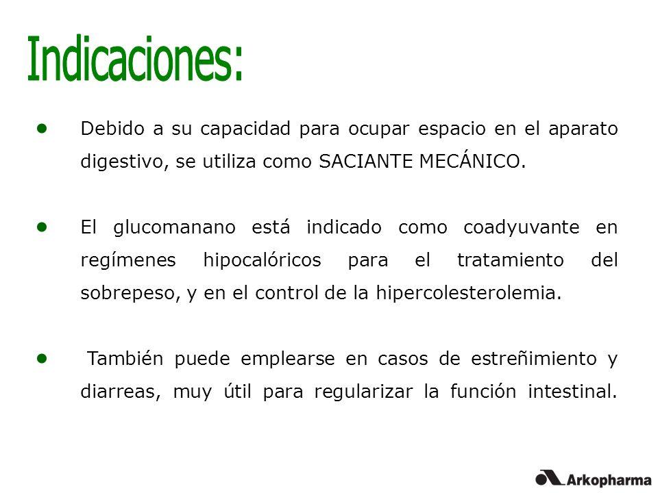 Indicaciones: Debido a su capacidad para ocupar espacio en el aparato digestivo, se utiliza como SACIANTE MECÁNICO.