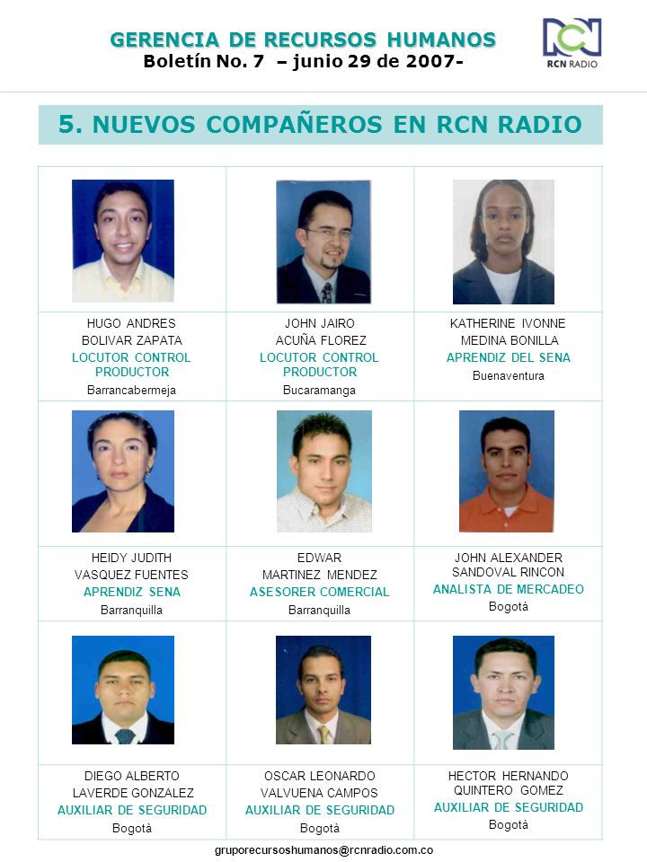 5. NUEVOS COMPAÑEROS EN RCN RADIO LOCUTOR CONTROL PRODUCTOR