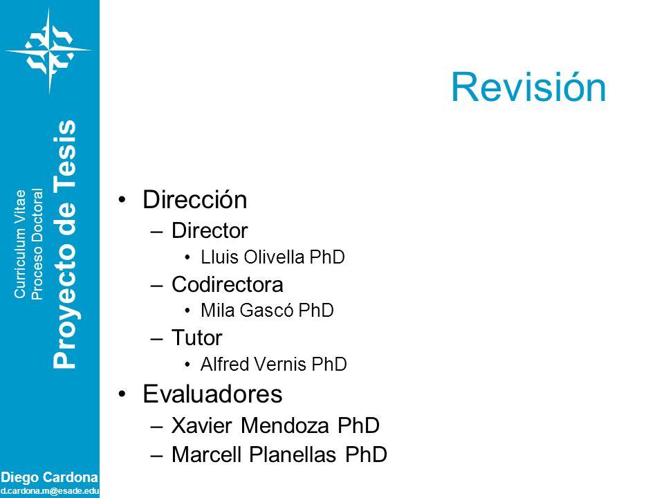 Revisión Proyecto de Tesis Dirección Evaluadores Director Codirectora