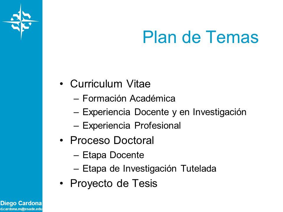 Plan de Temas Curriculum Vitae Proceso Doctoral Proyecto de Tesis