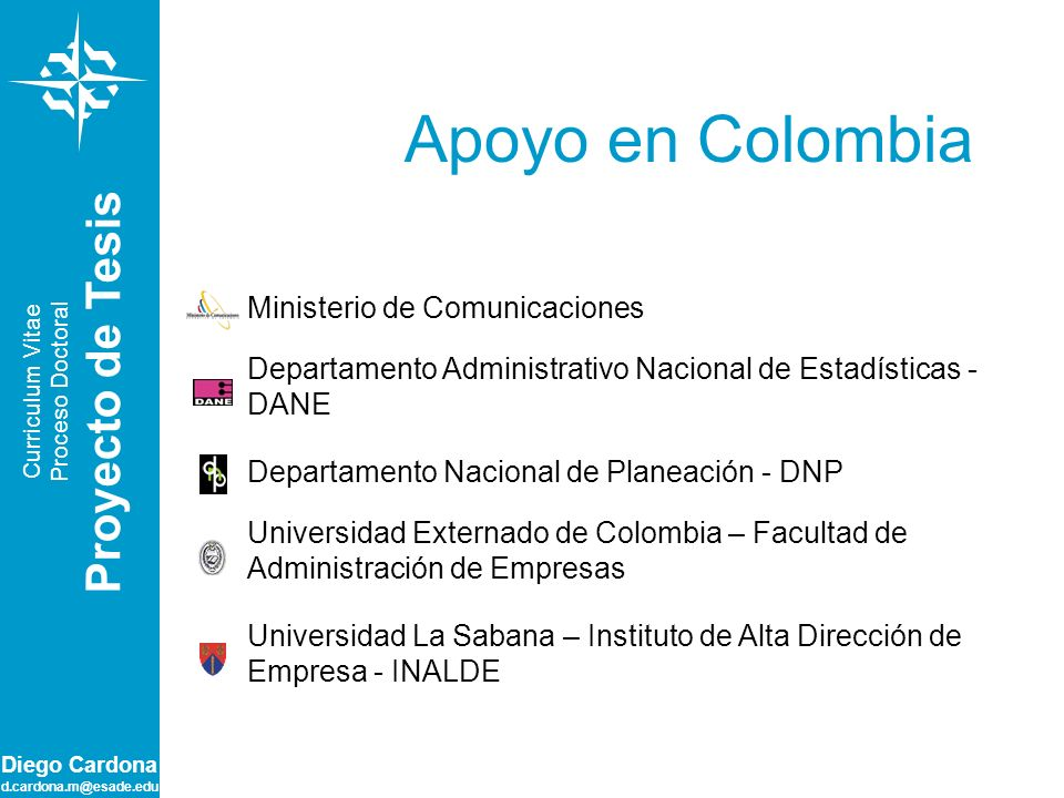 Apoyo en Colombia Proyecto de Tesis Ministerio de Comunicaciones