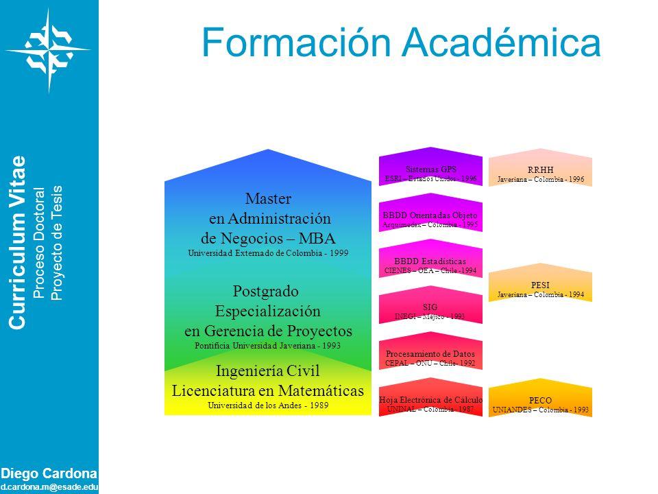Formación Académica Curriculum Vitae Master en Administración