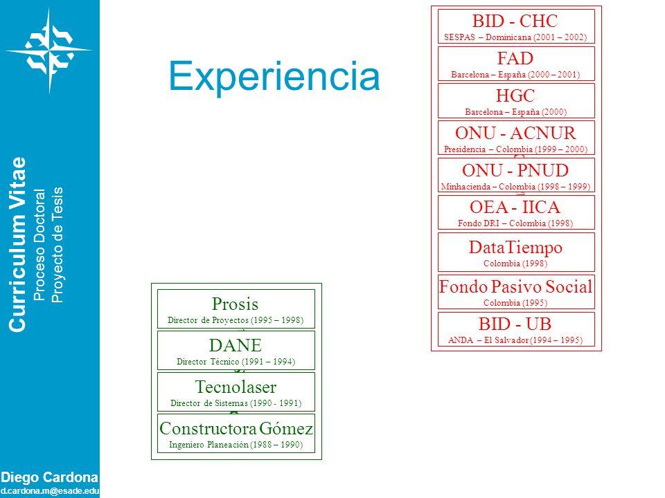 Experiencia Consultoría Curriculum Vitae Profesional BID - CHC FAD HGC