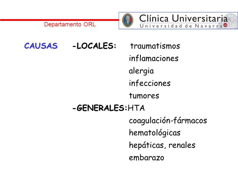 CAUSAS -LOCALES: traumatismos inflamaciones alergia infecciones