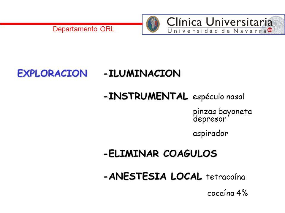 EXPLORACION -ILUMINACION -INSTRUMENTAL espéculo nasal