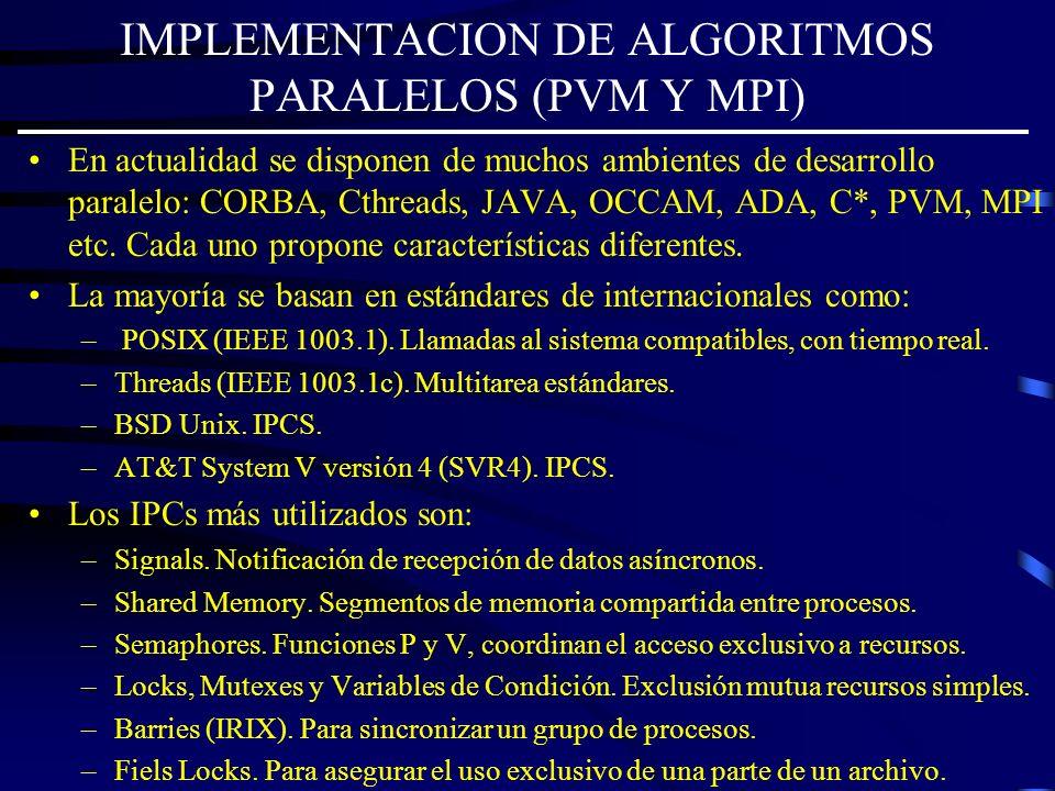 IMPLEMENTACION DE ALGORITMOS PARALELOS (PVM Y MPI)