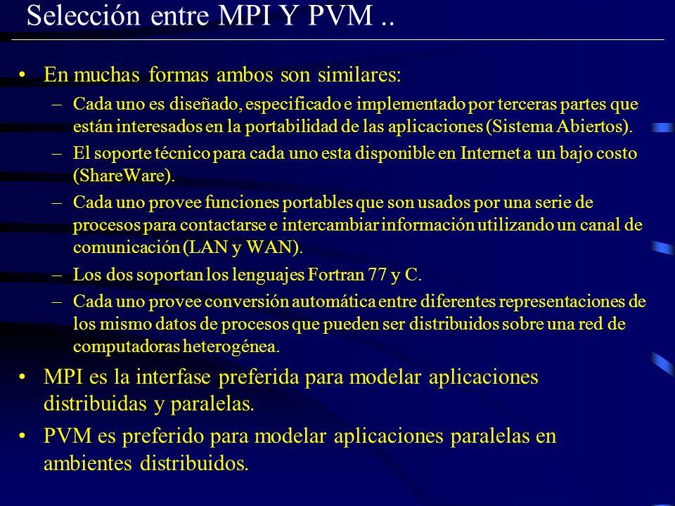 Selección entre MPI Y PVM ..