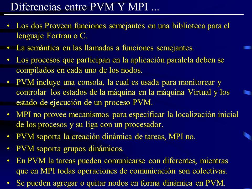Diferencias entre PVM Y MPI ...