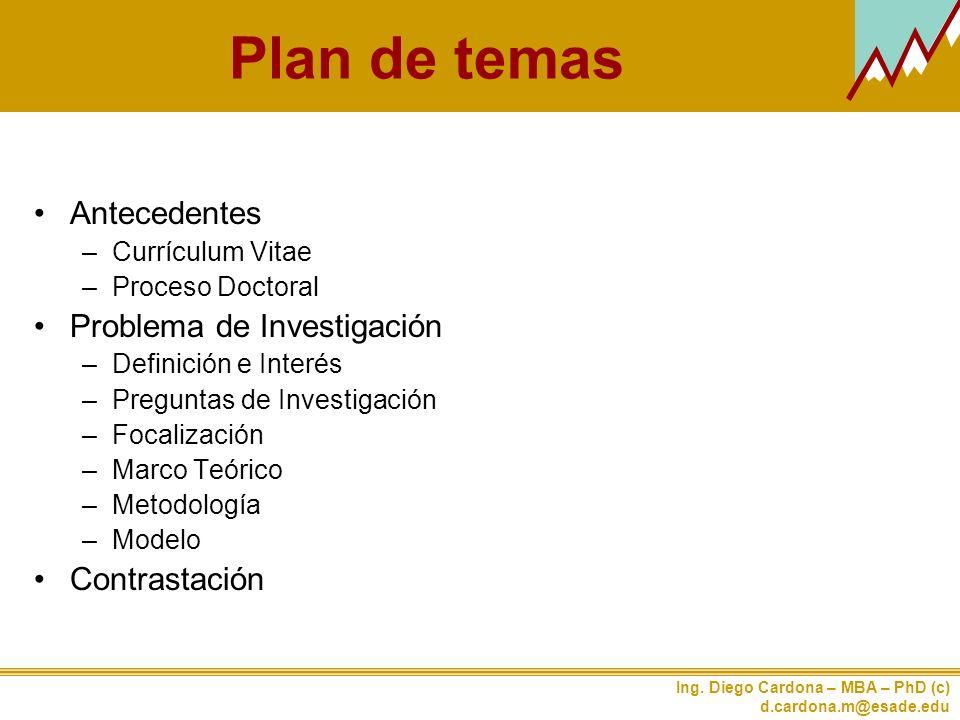 Plan de temas Antecedentes Problema de Investigación Contrastación