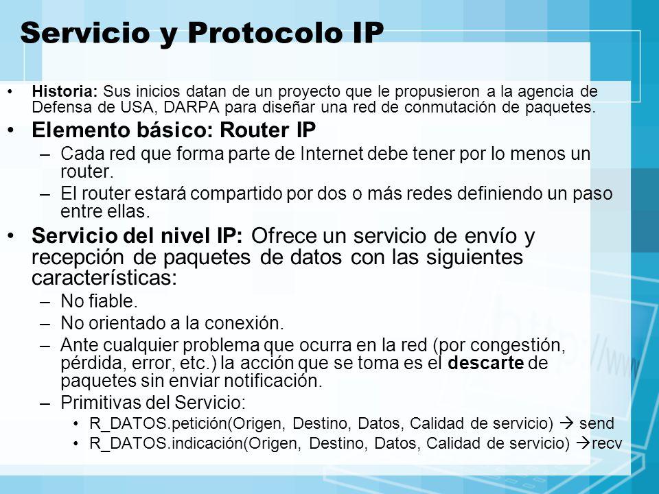 Servicio y Protocolo IP