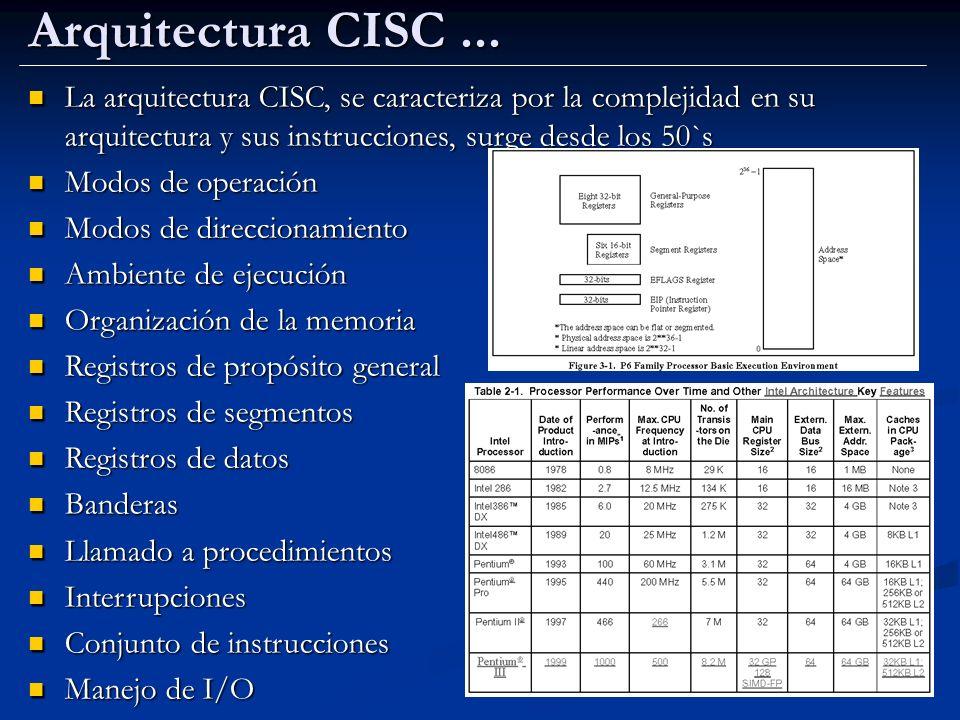 Arquitectura CISC ... La arquitectura CISC, se caracteriza por la complejidad en su arquitectura y sus instrucciones, surge desde los 50`s.