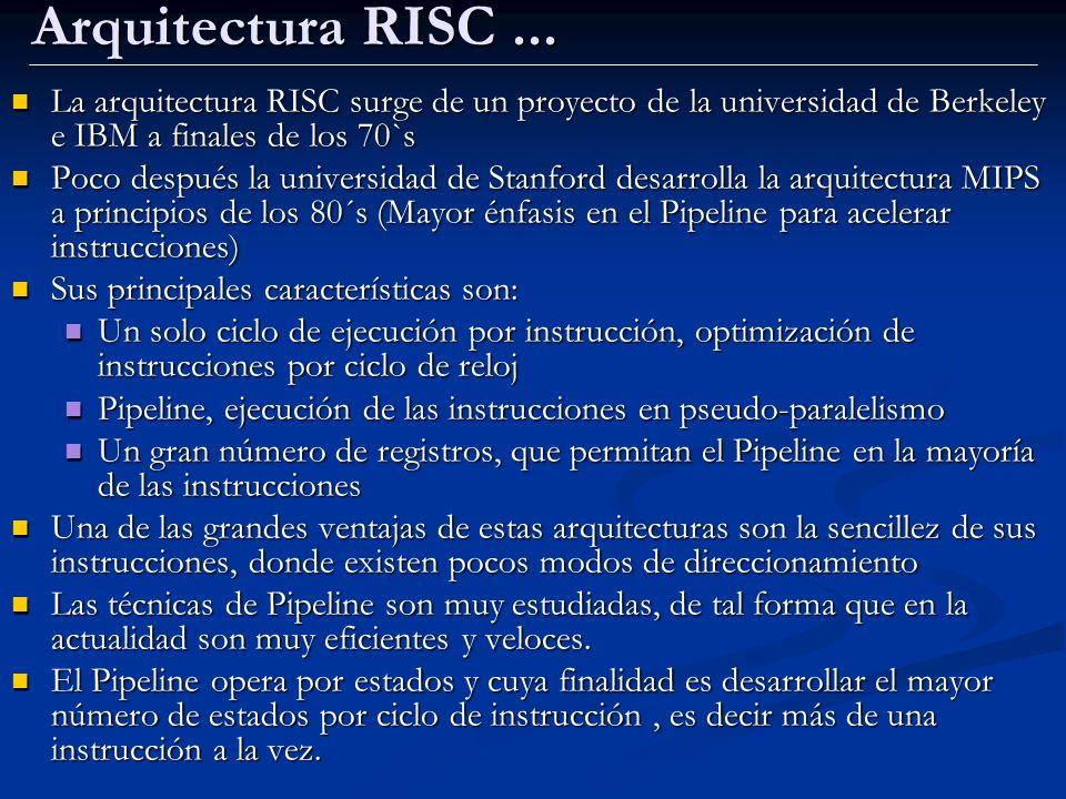 Arquitectura RISC ... La arquitectura RISC surge de un proyecto de la universidad de Berkeley e IBM a finales de los 70`s.
