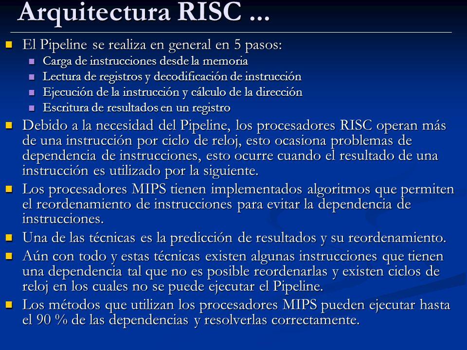 Arquitectura RISC ... El Pipeline se realiza en general en 5 pasos: