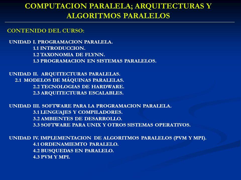 COMPUTACION PARALELA; ARQUITECTURAS Y ALGORITMOS PARALELOS