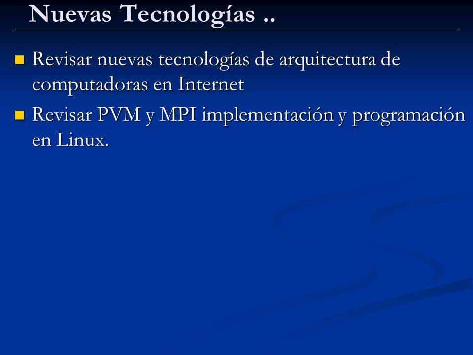 Nuevas Tecnologías .. Revisar nuevas tecnologías de arquitectura de computadoras en Internet.