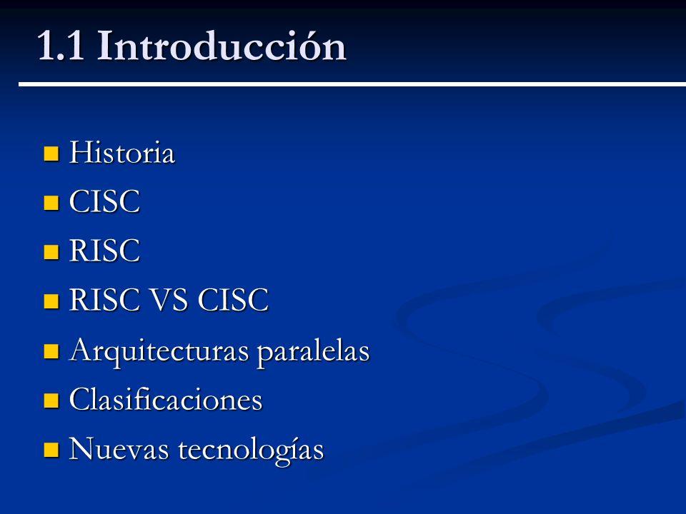 1.1 Introducción Historia CISC RISC RISC VS CISC
