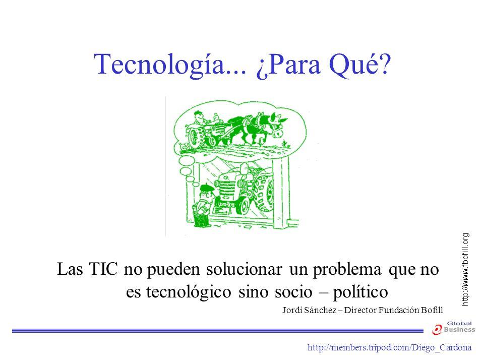 Tecnología... ¿Para Qué Las TIC no pueden solucionar un problema que no es tecnológico sino socio – político.