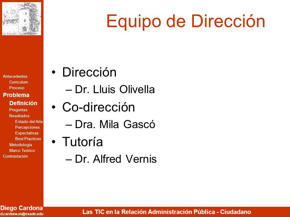 Equipo de Dirección Dirección Co-dirección Tutoría Dr. Lluis Olivella