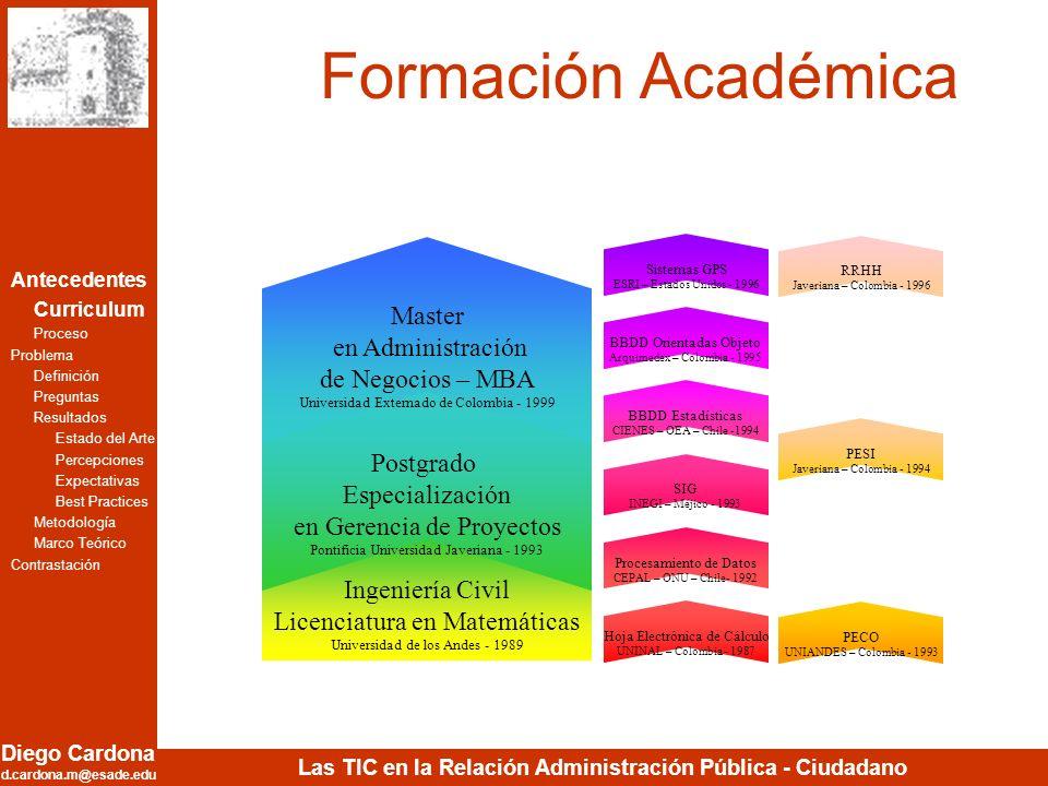 Formación Académica Master en Administración de Negocios – MBA