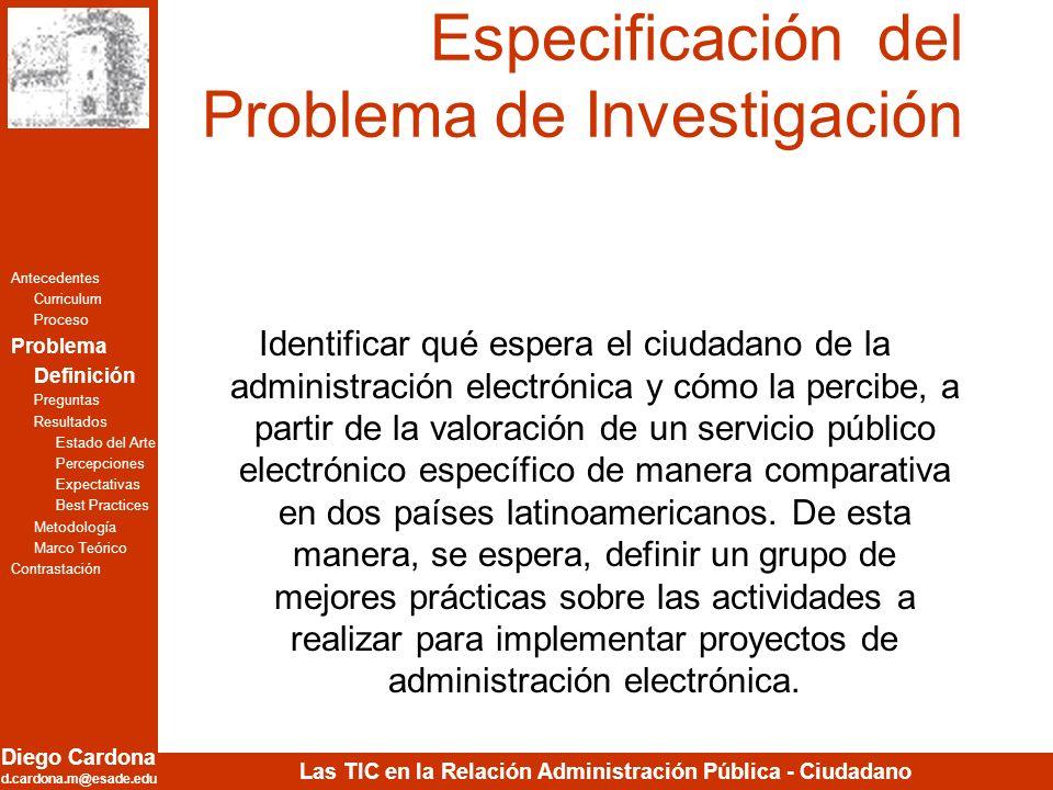Especificación del Problema de Investigación