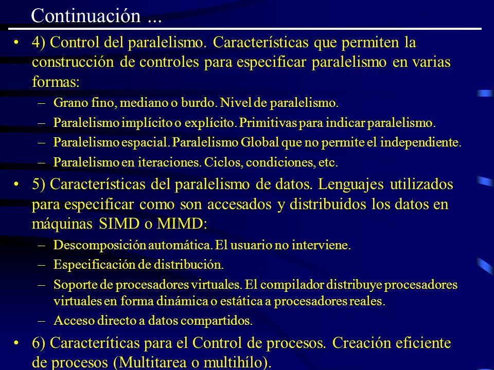 Continuación ... 4) Control del paralelismo. Características que permiten la construcción de controles para especificar paralelismo en varias formas: