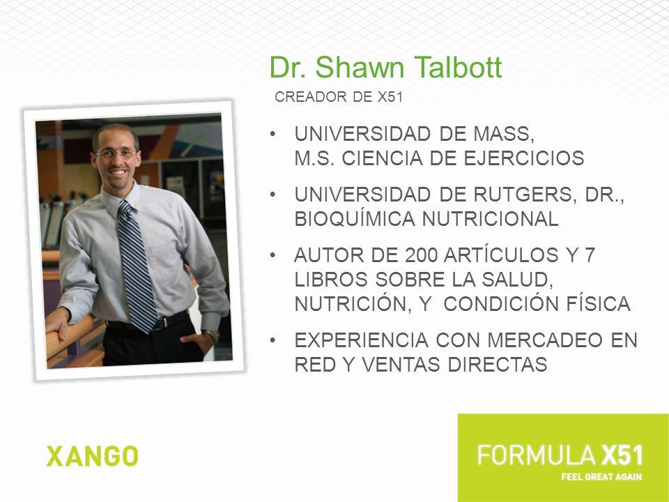 Dr. Shawn Talbott Universidad de Mass, M.S. ciencia de ejercicios