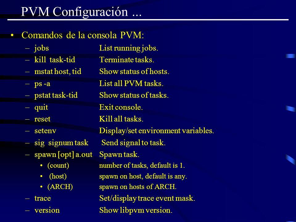 PVM Configuración ... Comandos de la consola PVM:
