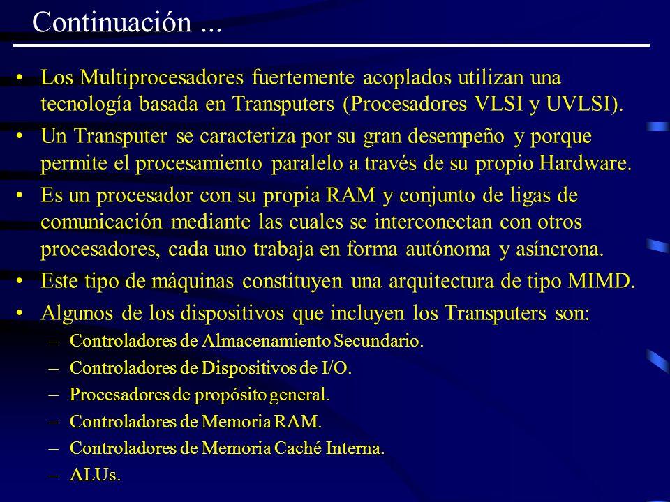 Continuación ... Los Multiprocesadores fuertemente acoplados utilizan una tecnología basada en Transputers (Procesadores VLSI y UVLSI).