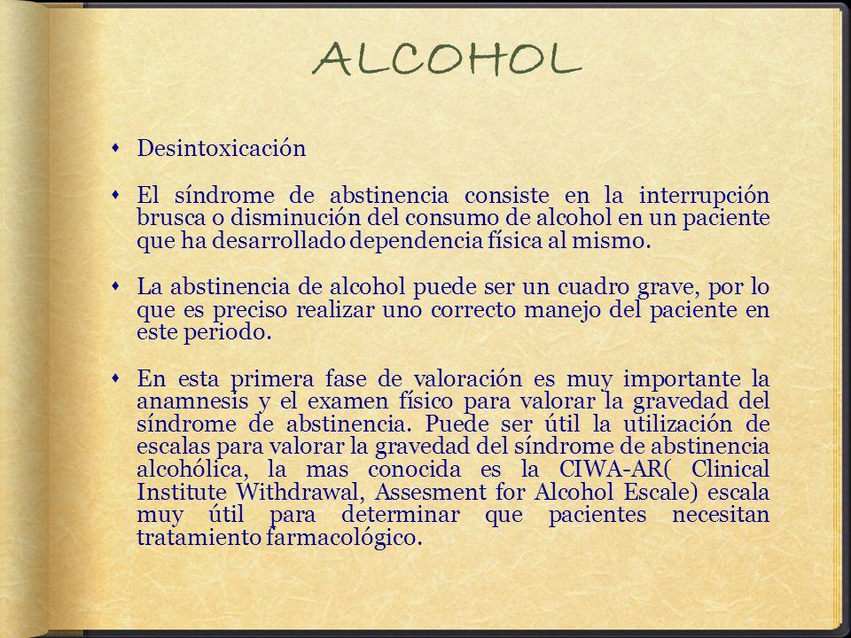 ALCOHOL Desintoxicación