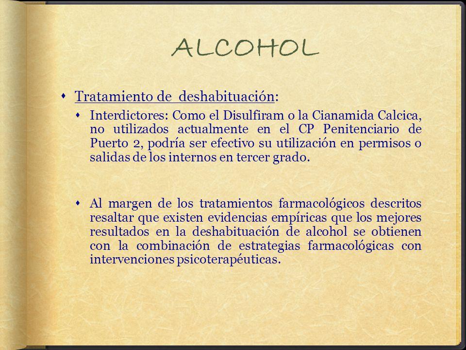 ALCOHOL Tratamiento de deshabituación: