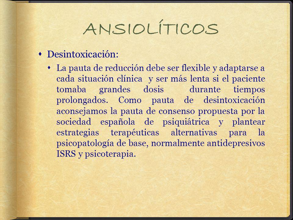 ANSIOLÍTICOS Desintoxicación: