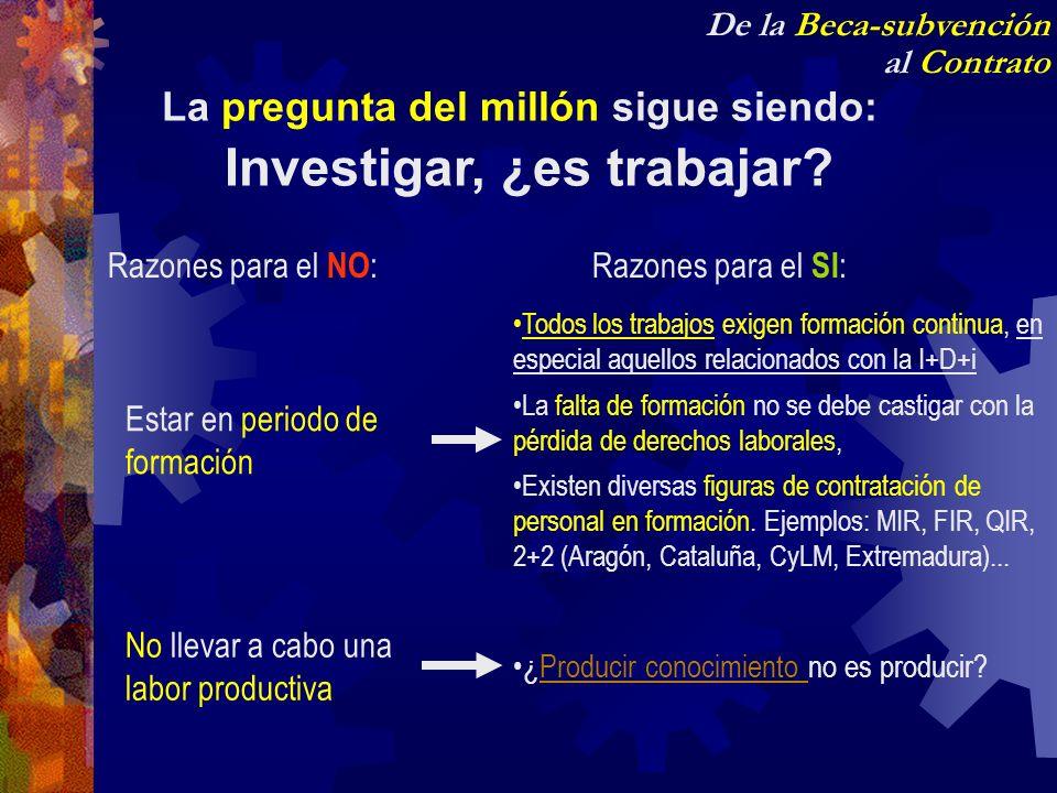 La pregunta del millón sigue siendo: Investigar, ¿es trabajar