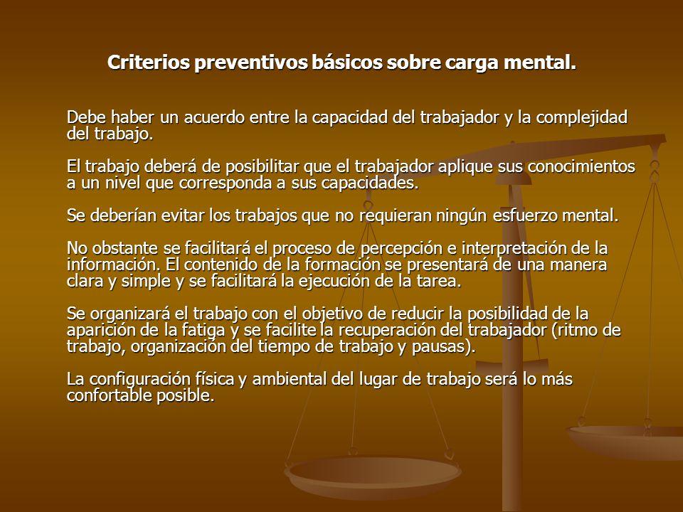 Criterios preventivos básicos sobre carga mental.