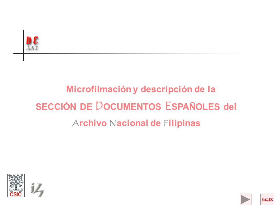 SECCIÓN DE DOCUMENTOS ESPAÑOLES del Archivo Nacional de Filipinas