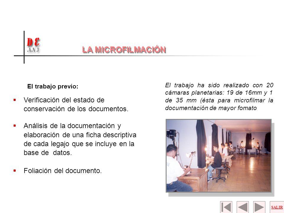 LA MICROFILMACIÓN El trabajo previo: Verificación del estado de conservación de los documentos.