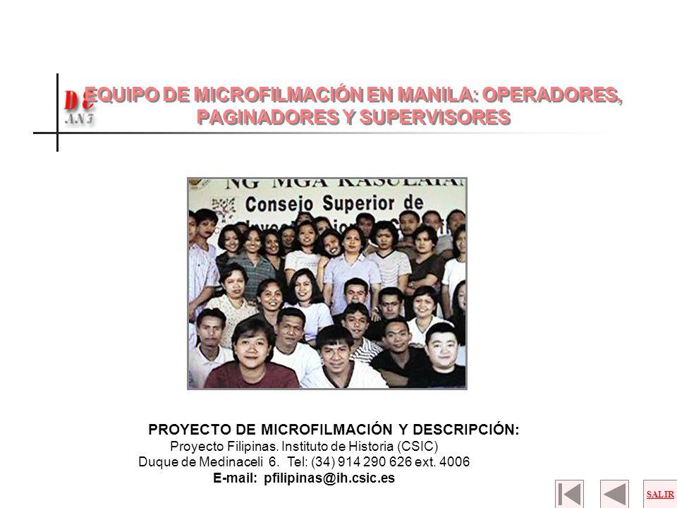 EQUIPO DE MICROFILMACIÓN EN MANILA: OPERADORES, PAGINADORES Y SUPERVISORES