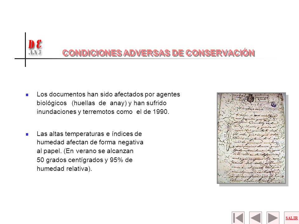 CONDICIONES ADVERSAS DE CONSERVACIÓN