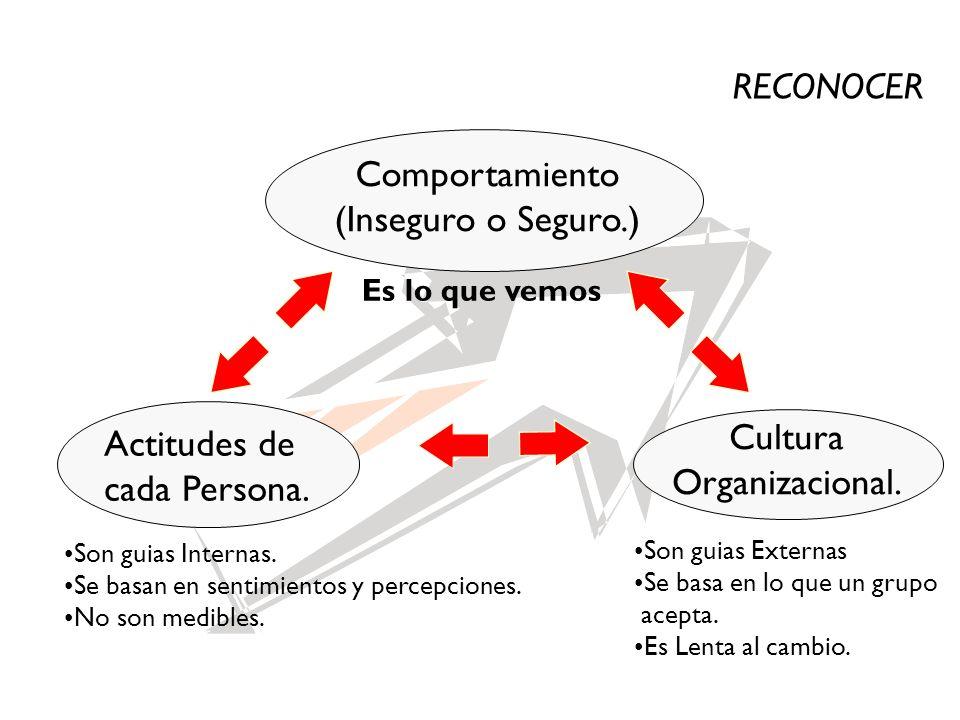 RECONOCER Comportamiento (Inseguro o Seguro.) Cultura Actitudes de