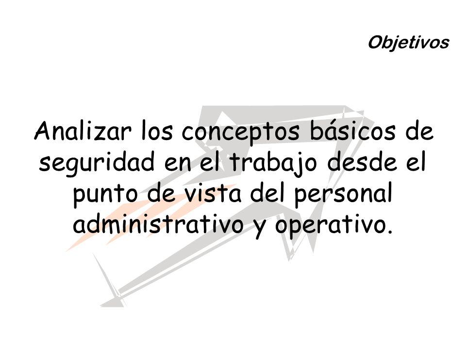 ObjetivosAnalizar los conceptos básicos de seguridad en el trabajo desde el punto de vista del personal administrativo y operativo.
